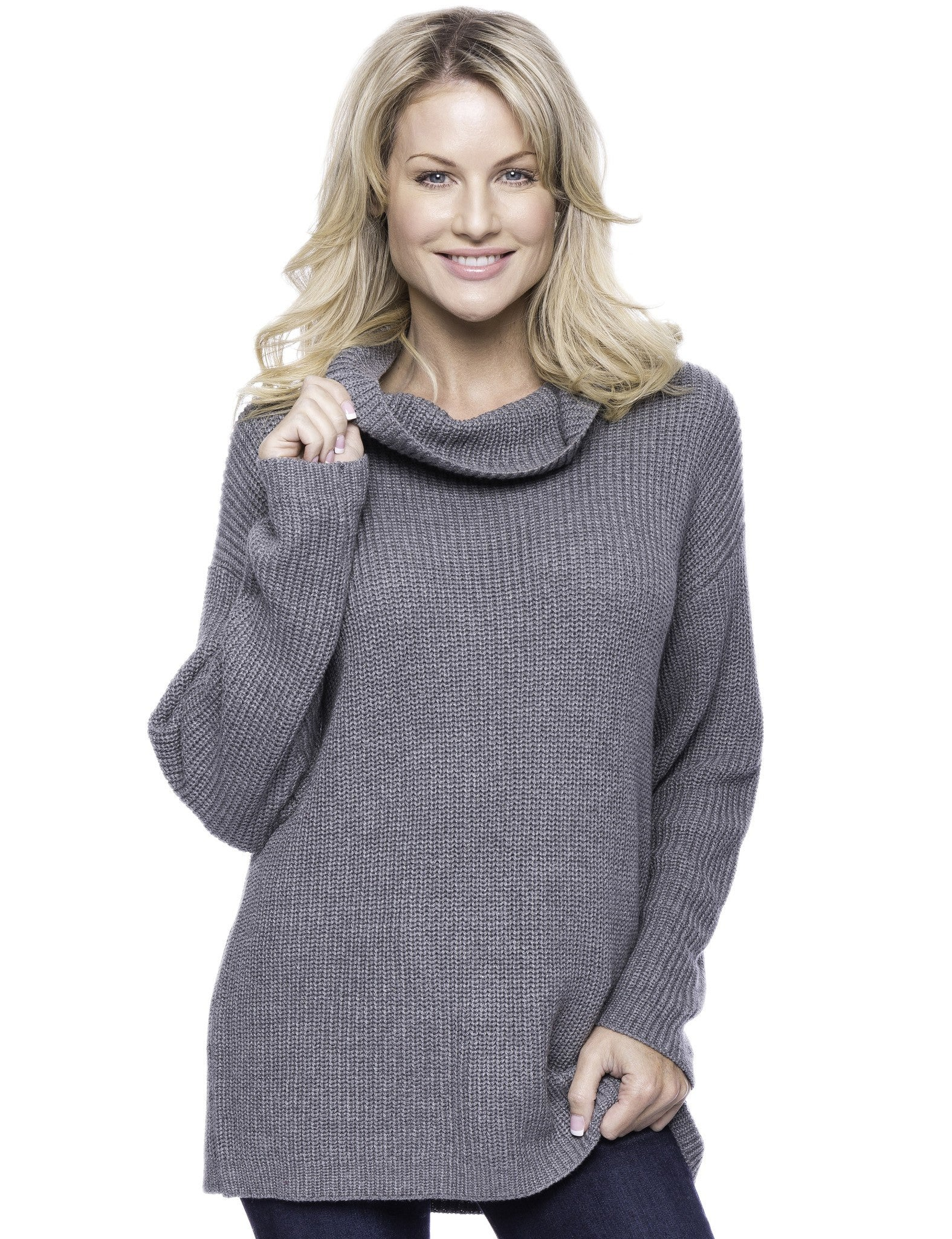 Cashmere Blend Cowl Neck Sweater - Dark Grey