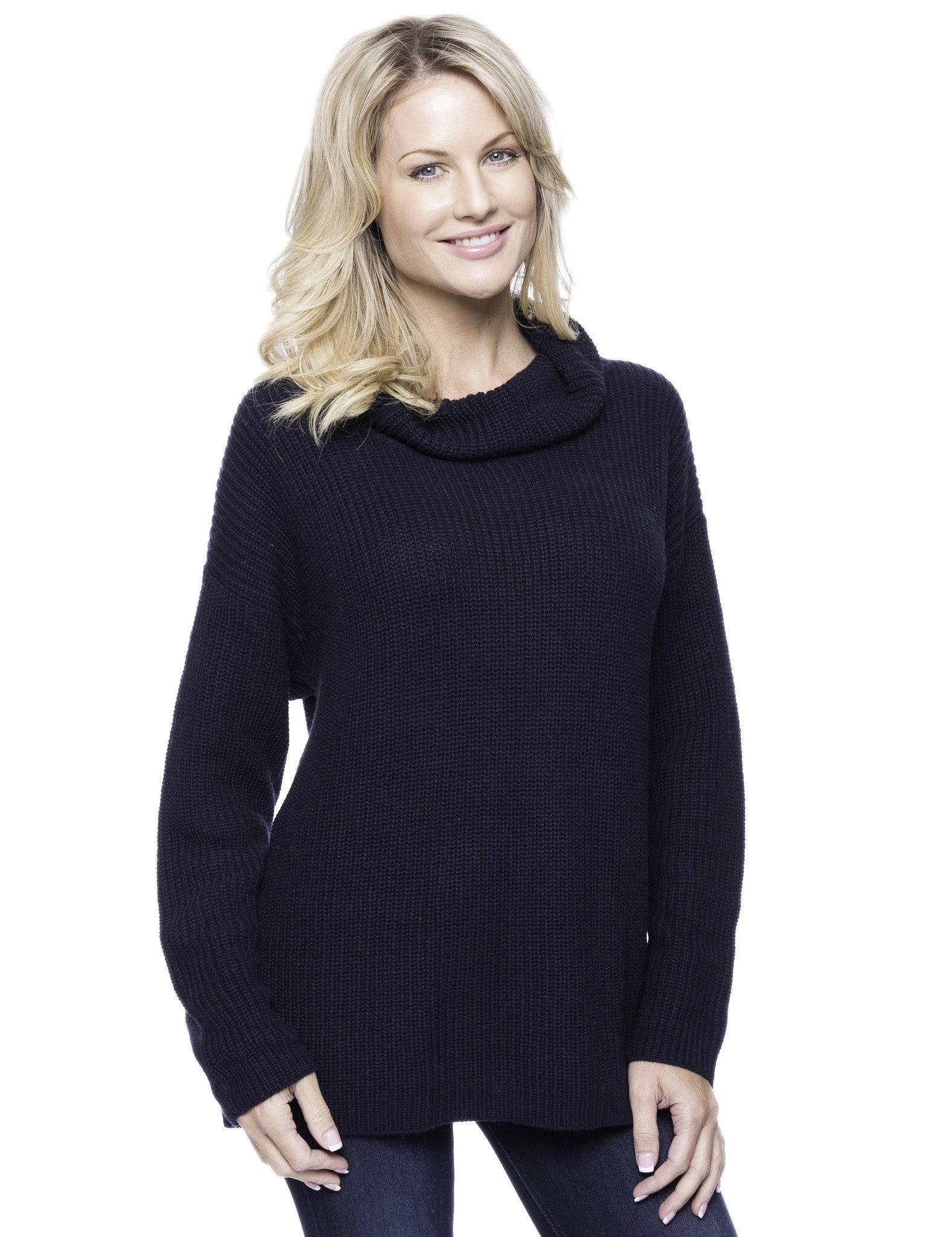 Cashmere Blend Cowl Neck Sweater - Navy
