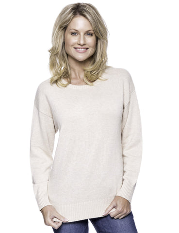 Cashmere Blend Crew Neck Sweater with Drop Shoulder - Oatmeal