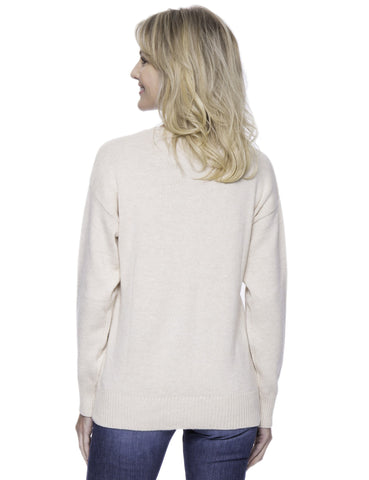 Tocco Reale Women's Cashmere Blend Crew Neck Sweater with Drop Shoulder - Oatmeal