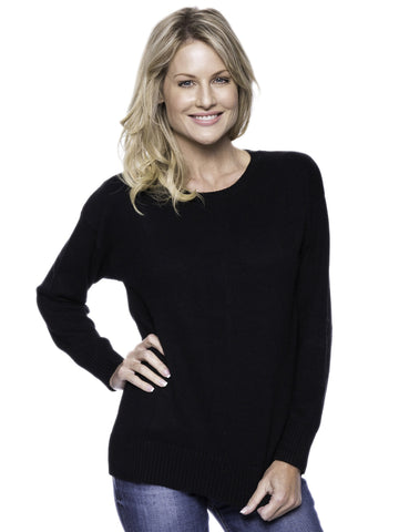 Cashmere Blend Crew Neck Sweater with Drop Shoulder - Black