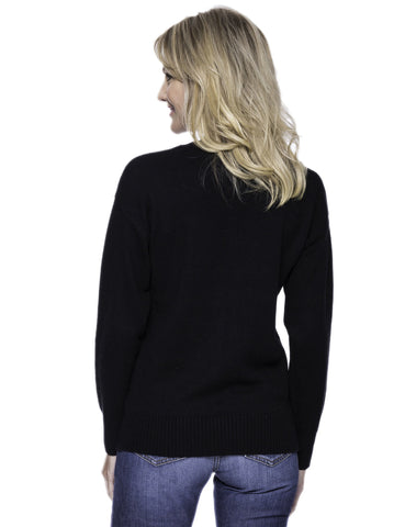 Tocco Reale Women's Cashmere Blend Crew Neck Sweater with Drop Shoulder - Black