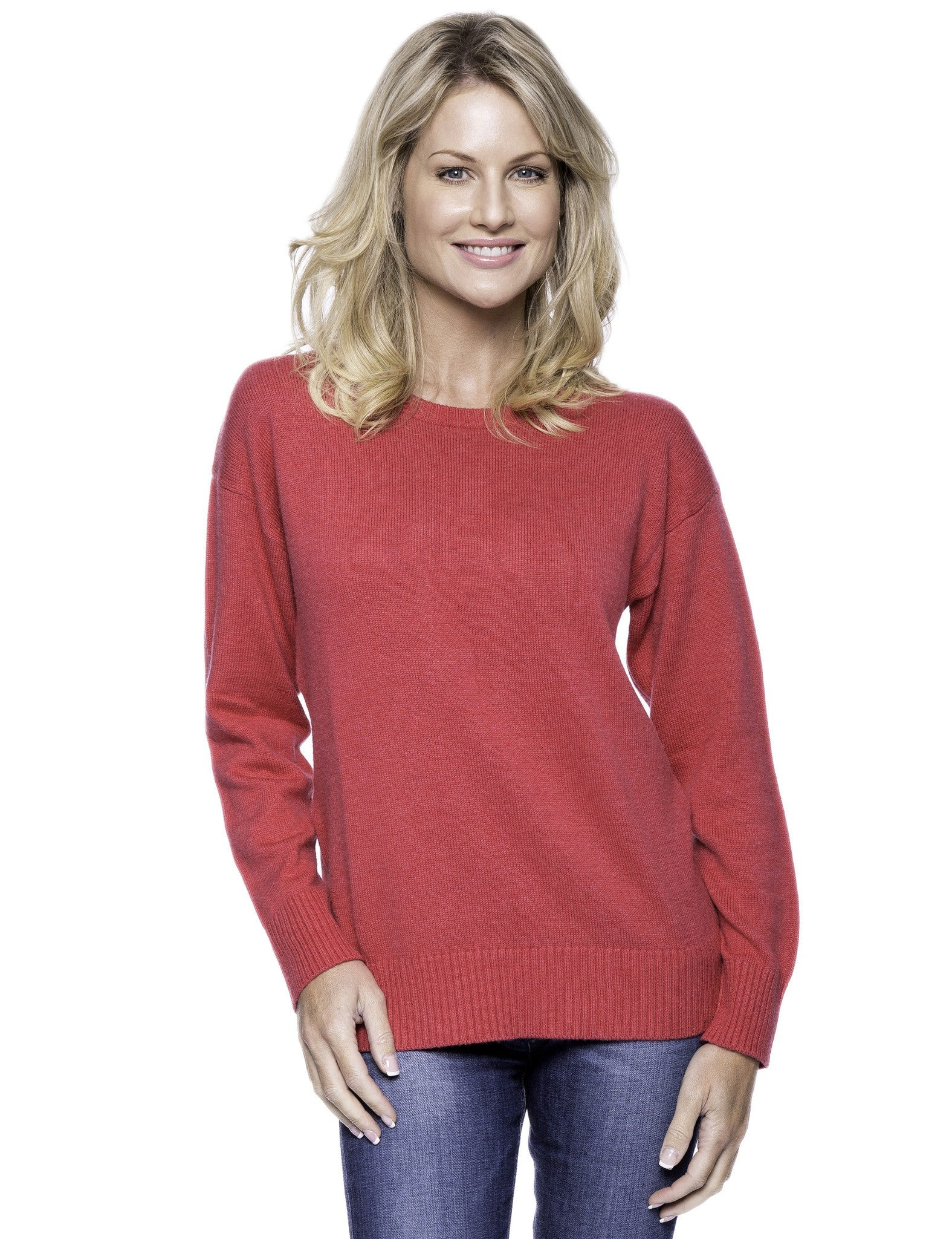 Cashmere Blend Crew Neck Sweater with Drop Shoulder - Fuchsia