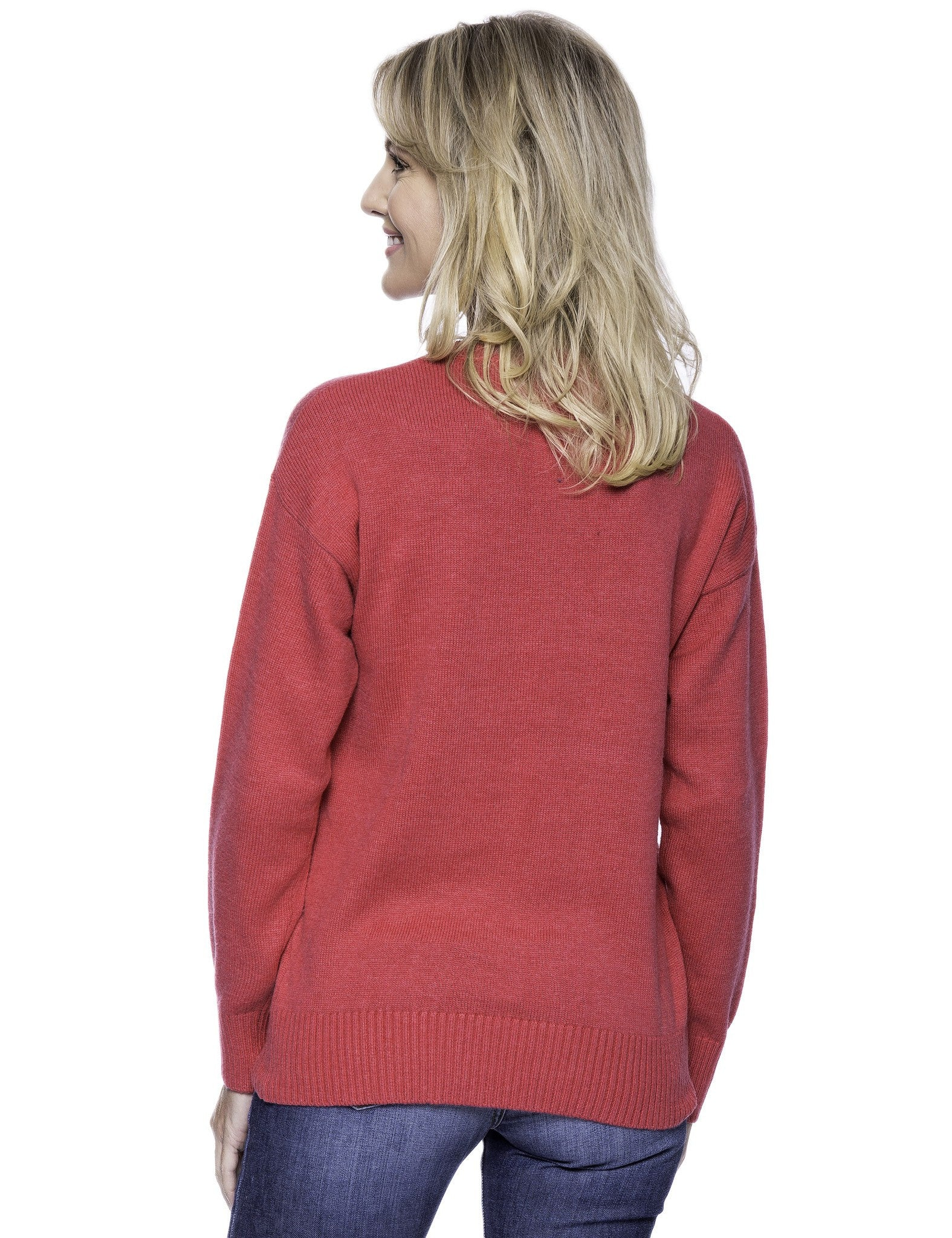 Tocco Reale Women's Cashmere Blend Crew Neck Sweater with Drop Shoulder - Fuchsia