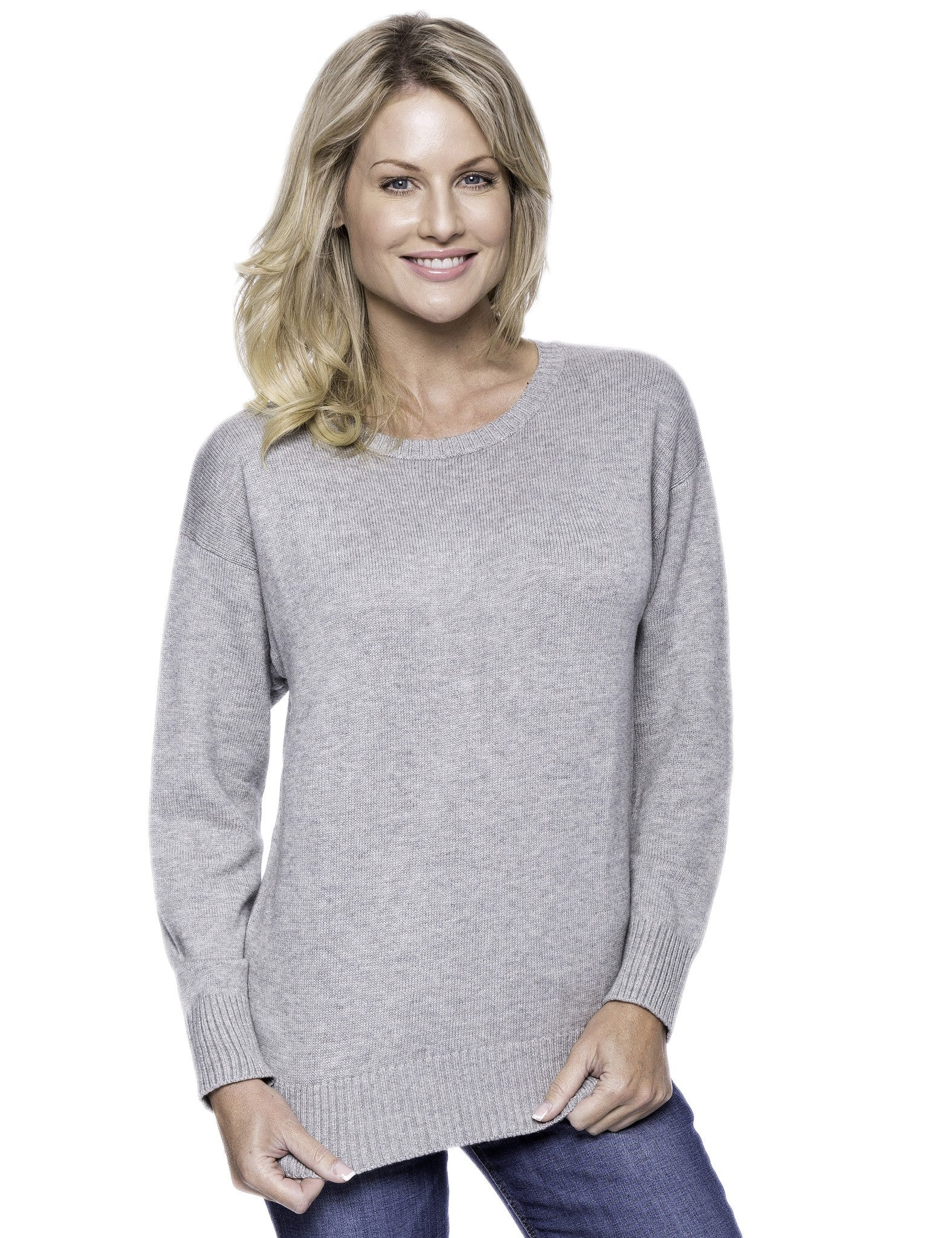 Cashmere Blend Crew Neck Sweater with Drop Shoulder - Heather Grey