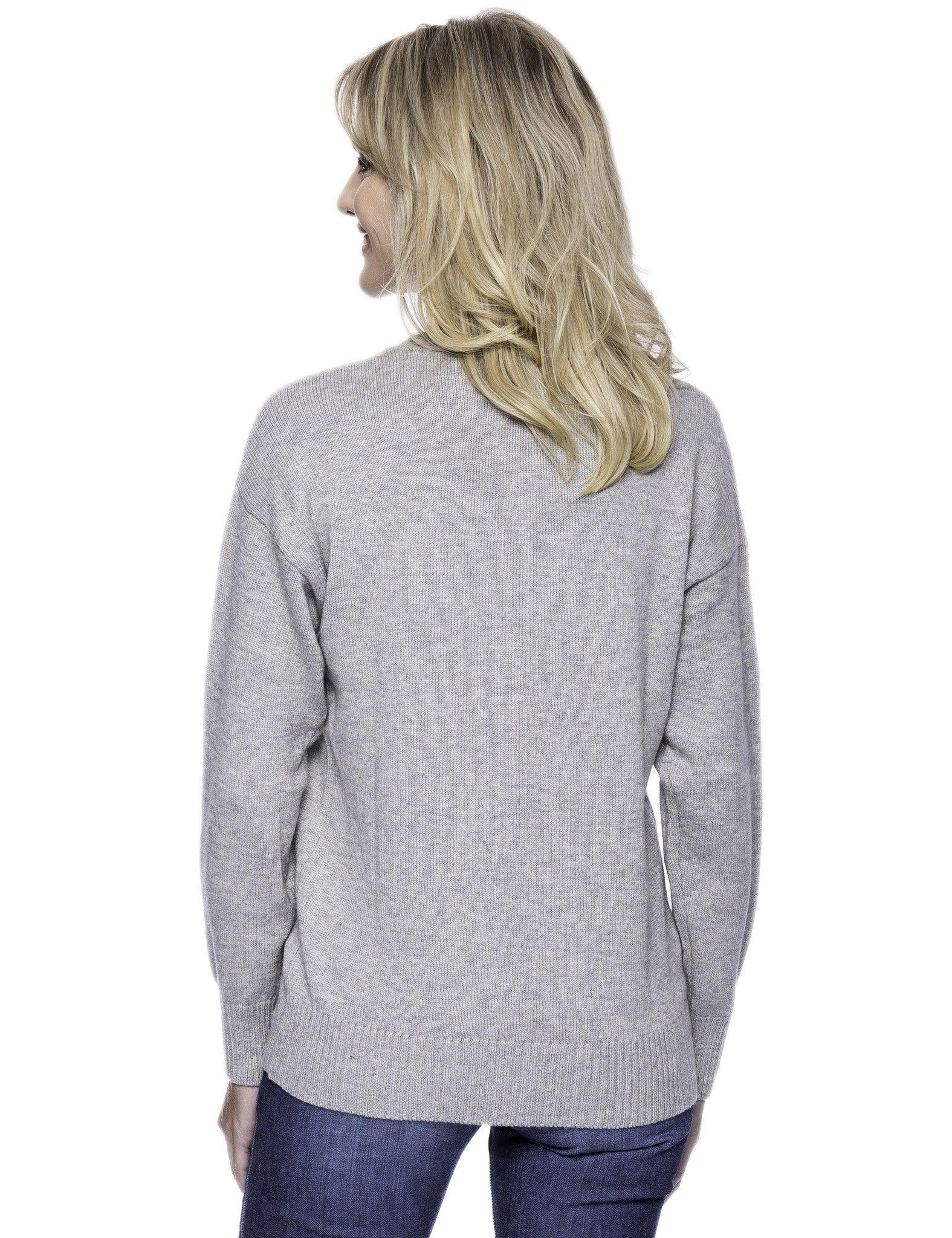 Tocco Reale Women's Cashmere Blend Crew Neck Sweater with Drop Shoulder - Heather Grey