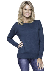 Cashmere Blend Crew Neck Sweater with Drop Shoulder - Teal