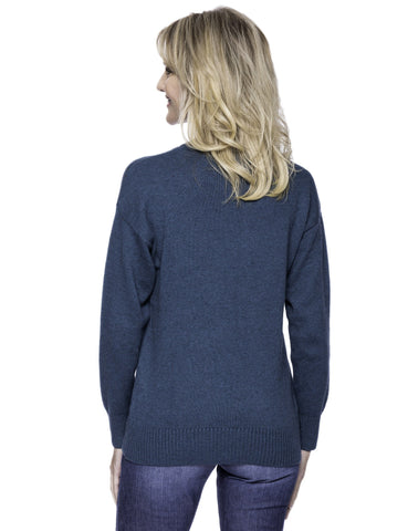 Tocco Reale Women's Cashmere Blend Crew Neck Sweater with Drop Shoulder - Teal