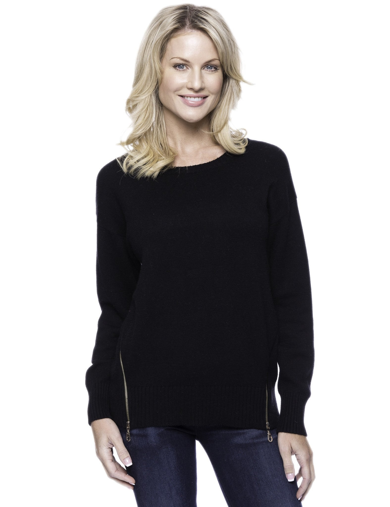 Cashmere Blend Crew Neck Sweater with Side Zip - Black