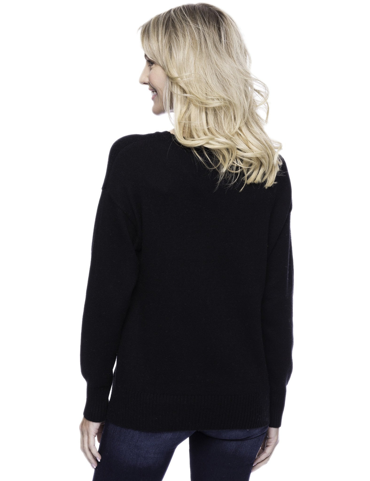Tocco Reale Women's Cashmere Blend Crew Neck Sweater with Side Zip - Black