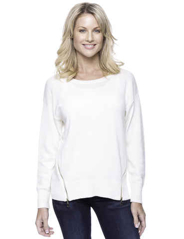 Cashmere Blend Crew Neck Sweater with Side Zip - Cream
