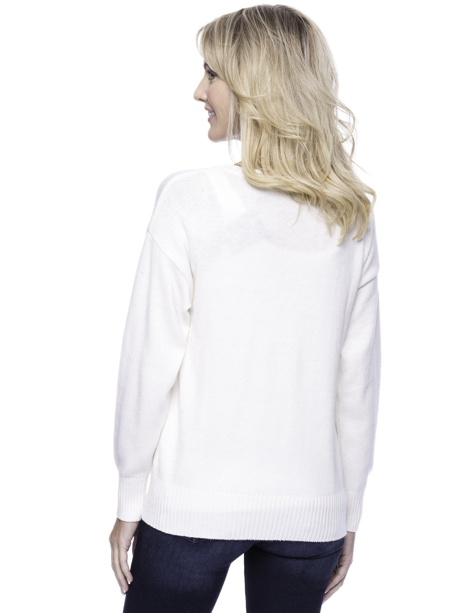 Tocco Reale Women's Cashmere Blend Crew Neck Sweater with Side Zip - Cream
