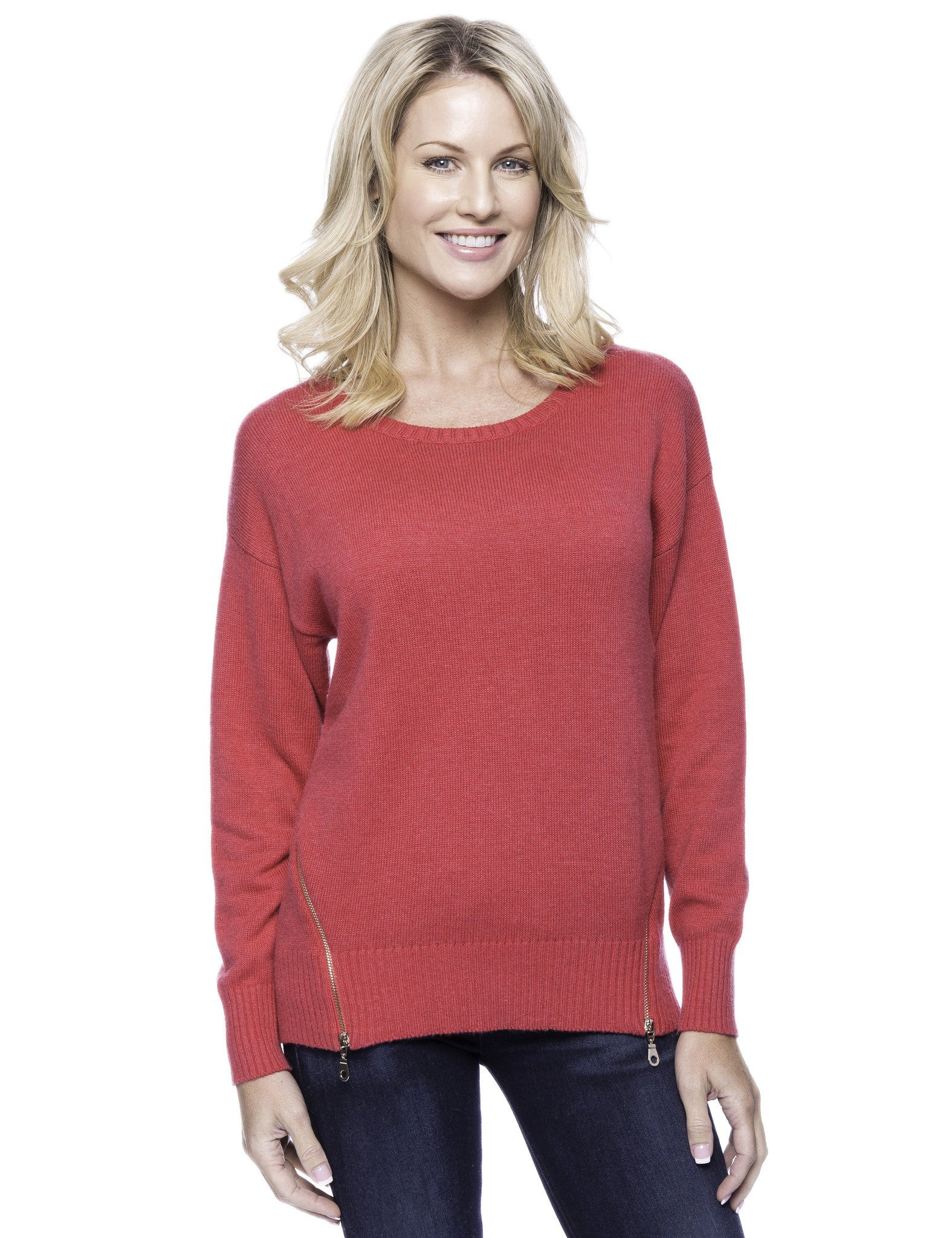 Cashmere Blend Crew Neck Sweater with Side Zip - Fuchsia