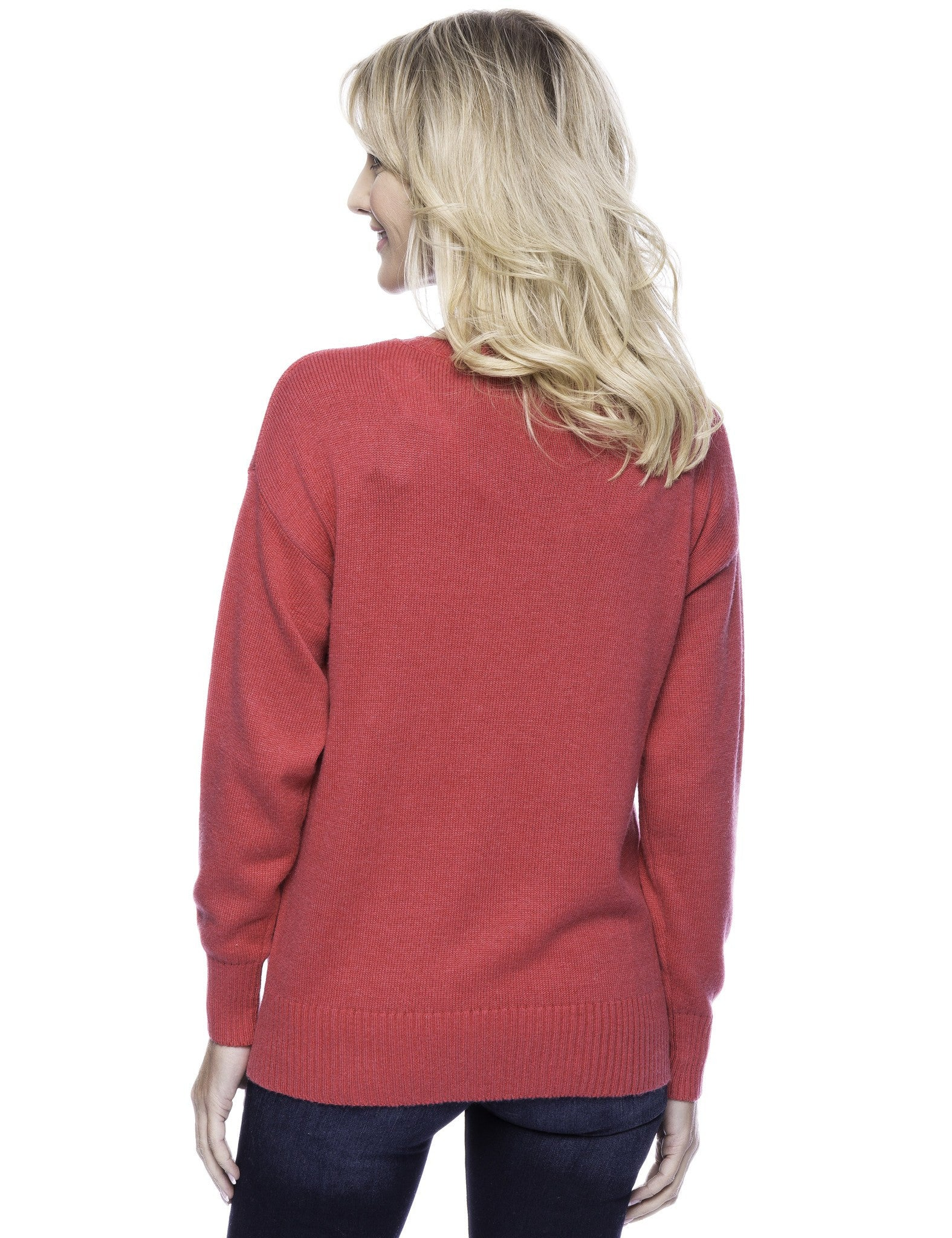 Tocco Reale Women's Cashmere Blend Crew Neck Sweater with Side Zip - Fuchsia