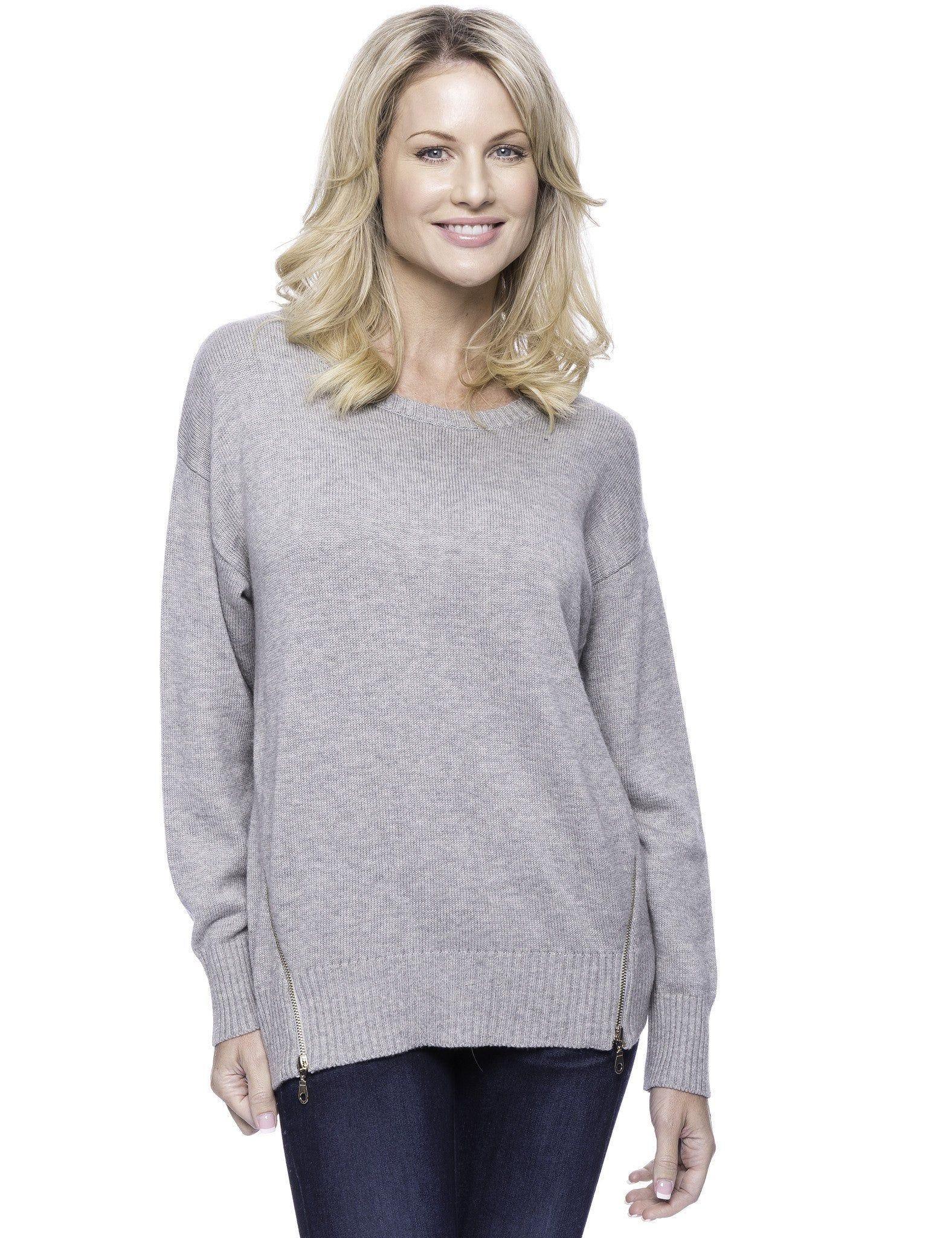 Cashmere Blend Crew Neck Sweater with Side Zip - Heather Grey