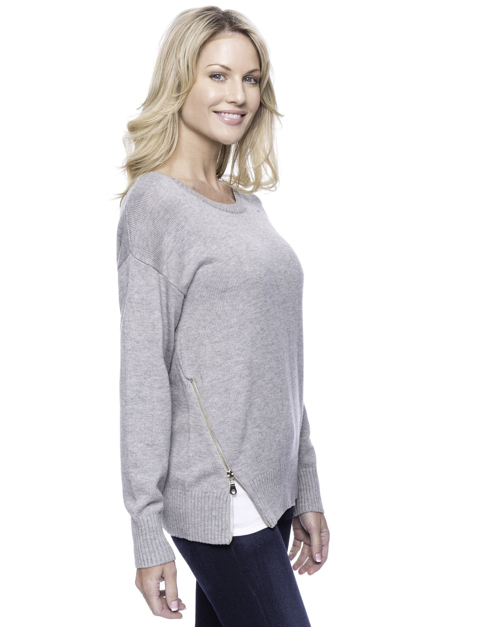 Tocco Reale Women's Cashmere Blend Crew Neck Sweater with Side Zip - Heather Grey