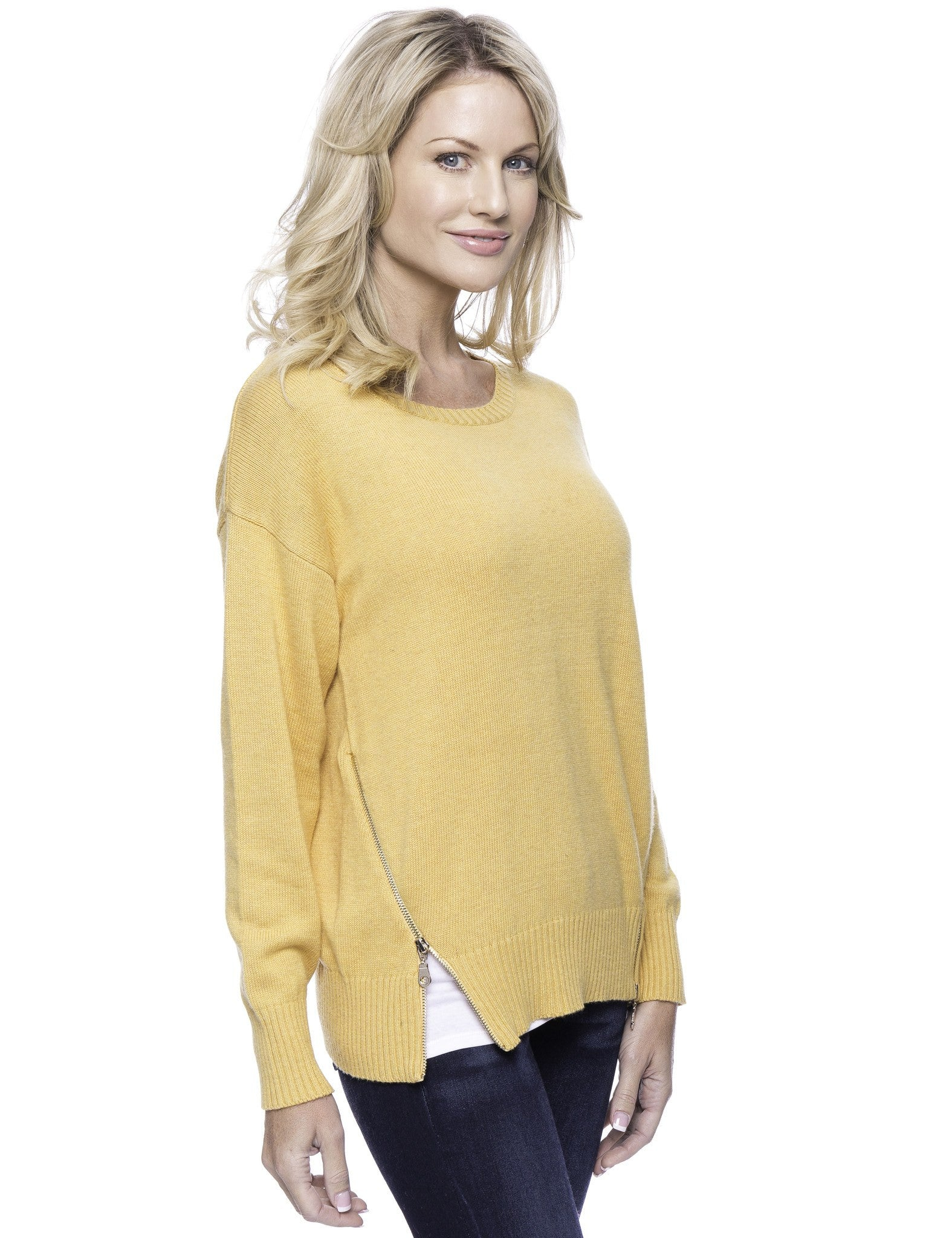 Tocco Reale Women's Cashmere Blend Crew Neck Sweater with Side Zip - Mustard