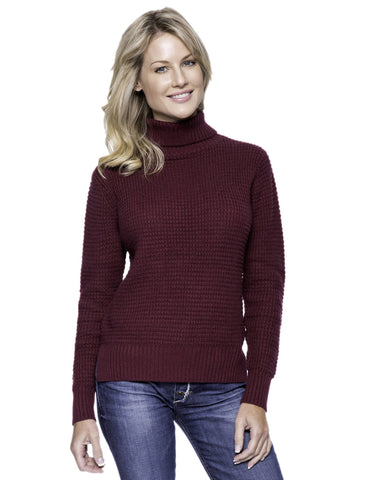 Cashmere Blend Turtle Neck Sweater - Bordeaux