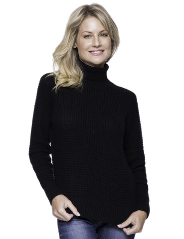 Cashmere Blend Turtle Neck Sweater - Black