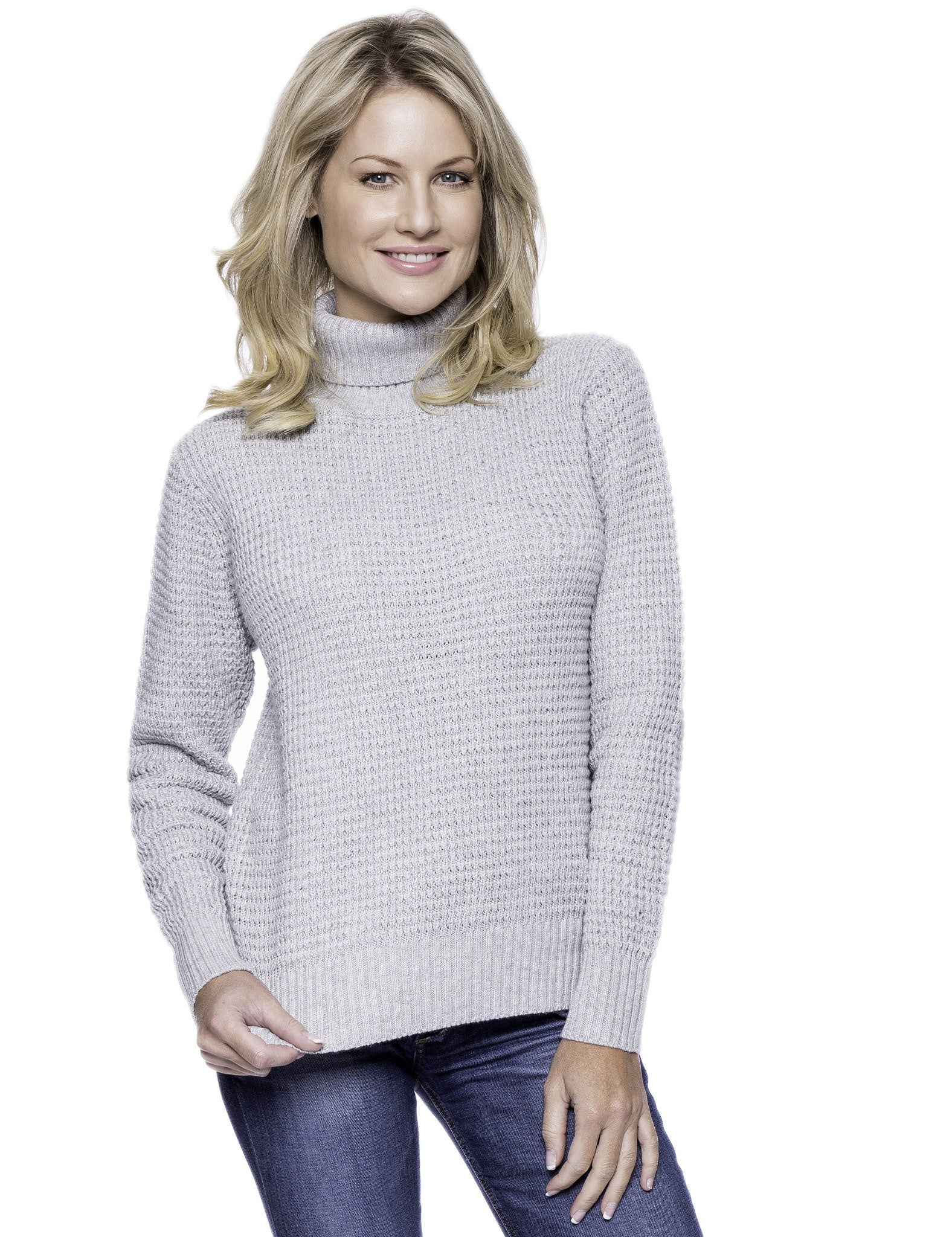 Cashmere Blend Turtle Neck Sweater - Heather Grey