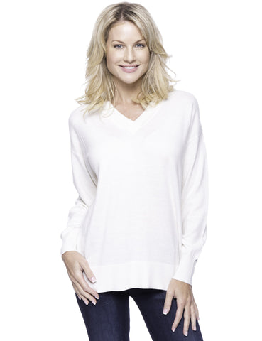 Cashmere Blend Deep V-Neck Sweater - Cream