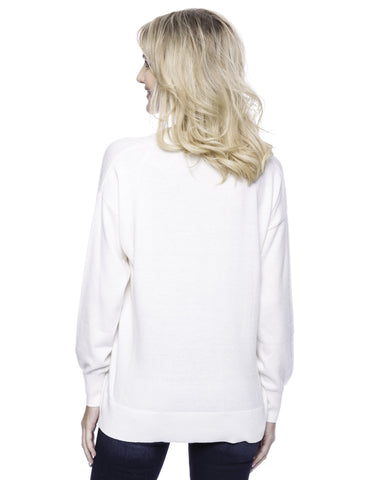 Tocco Reale Women's Cashmere Blend Deep V-Neck Sweater - Cream