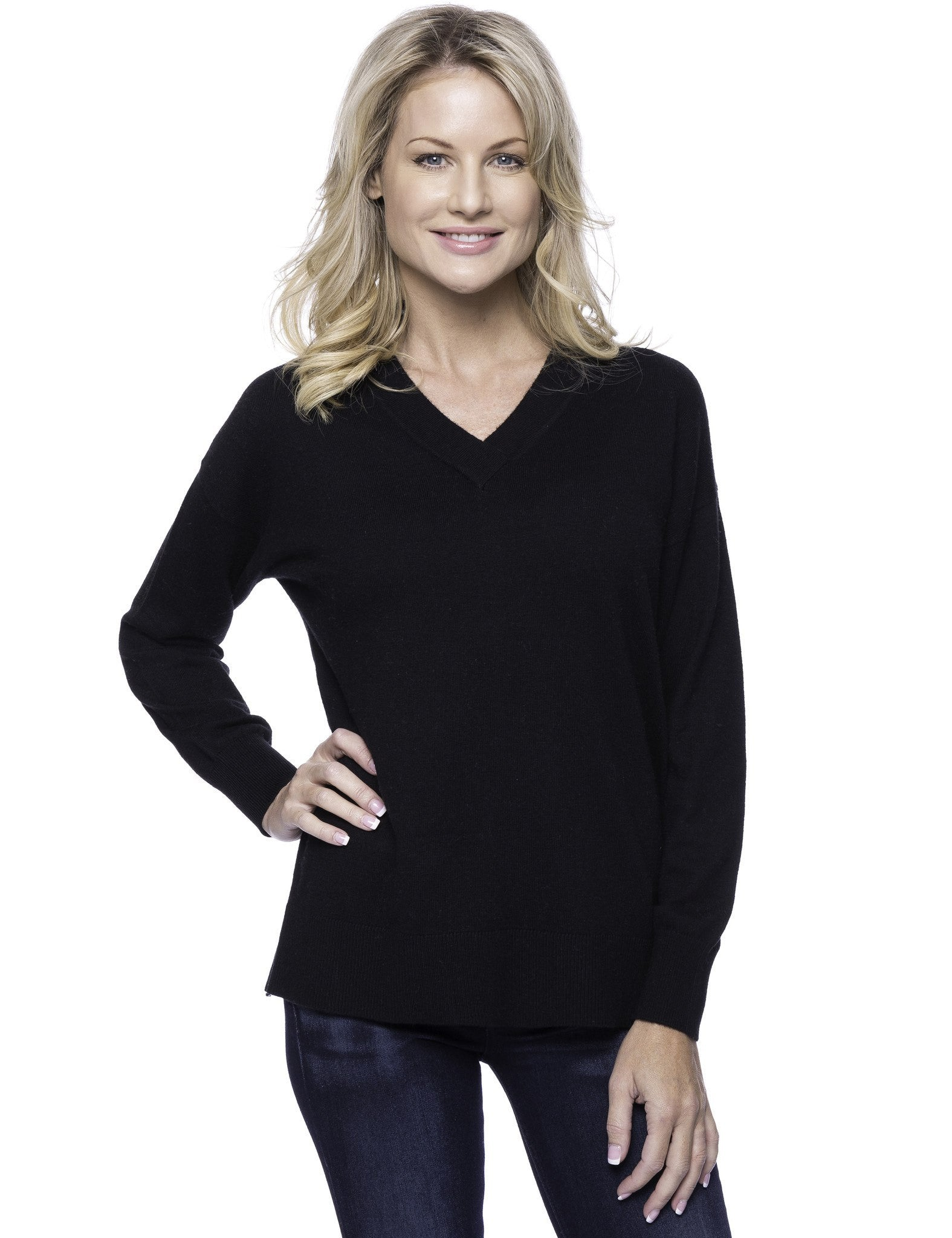 Cashmere Blend Deep V-Neck Sweater - Black