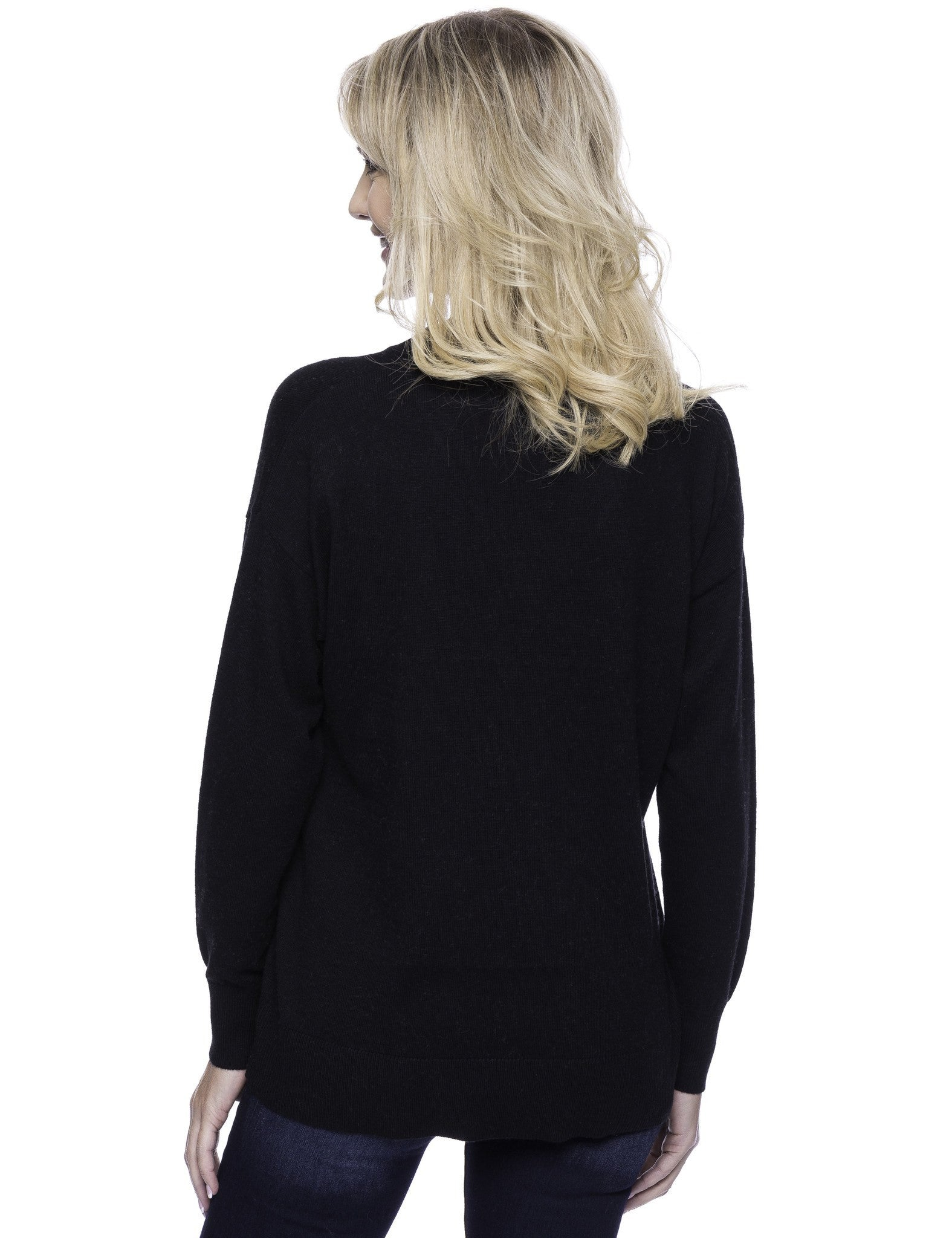 Tocco Reale Women's Cashmere Blend Deep V-Neck Sweater - Black