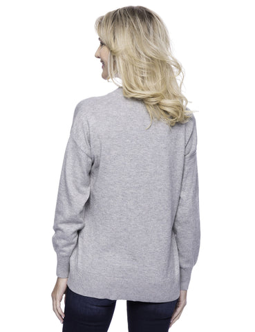 Tocco Reale Women's Cashmere Blend Deep V-Neck Sweater - Heather Grey