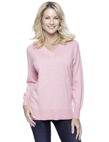 Cashmere Blend Deep V-Neck Sweater - Pink