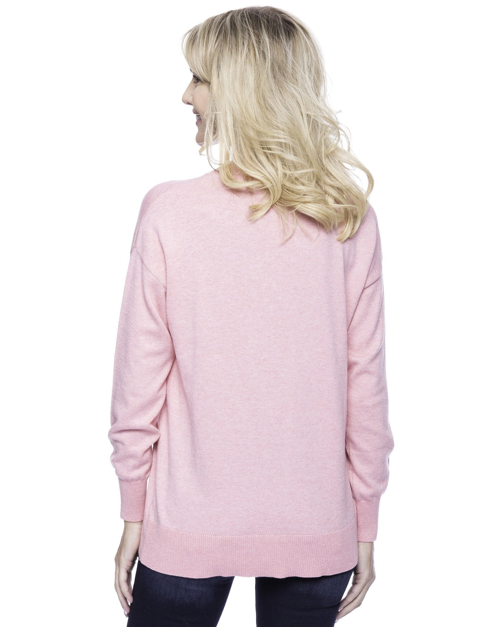 Tocco Reale Women's Cashmere Blend Deep V-Neck Sweater - Pink