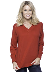 Cashmere Blend Deep V-Neck Sweater - Red