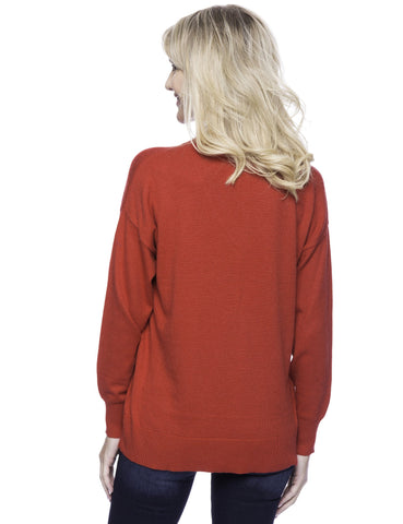 Tocco Reale Women's Cashmere Blend Deep V-Neck Sweater - Red