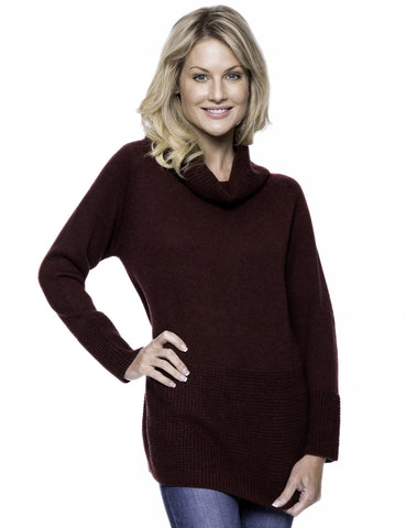 Wool Blend Cowl Neck Sweater with Contrast Stitch Panel - Bordeaux