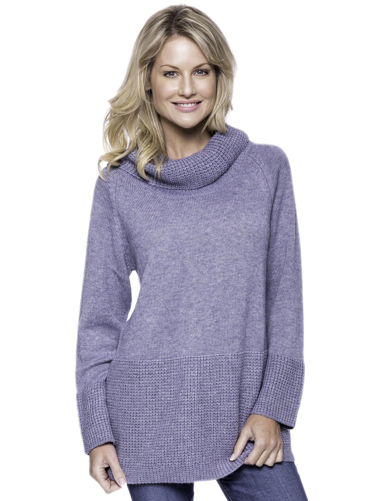 Wool Blend Cowl Neck Sweater with Contrast Stitch Panel - Dark Grey
