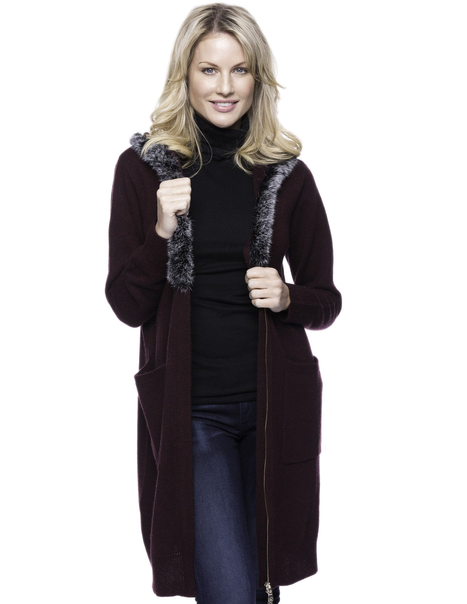 Wool Blend Zip Cardigan with Fur Trim Hood - Bordeaux