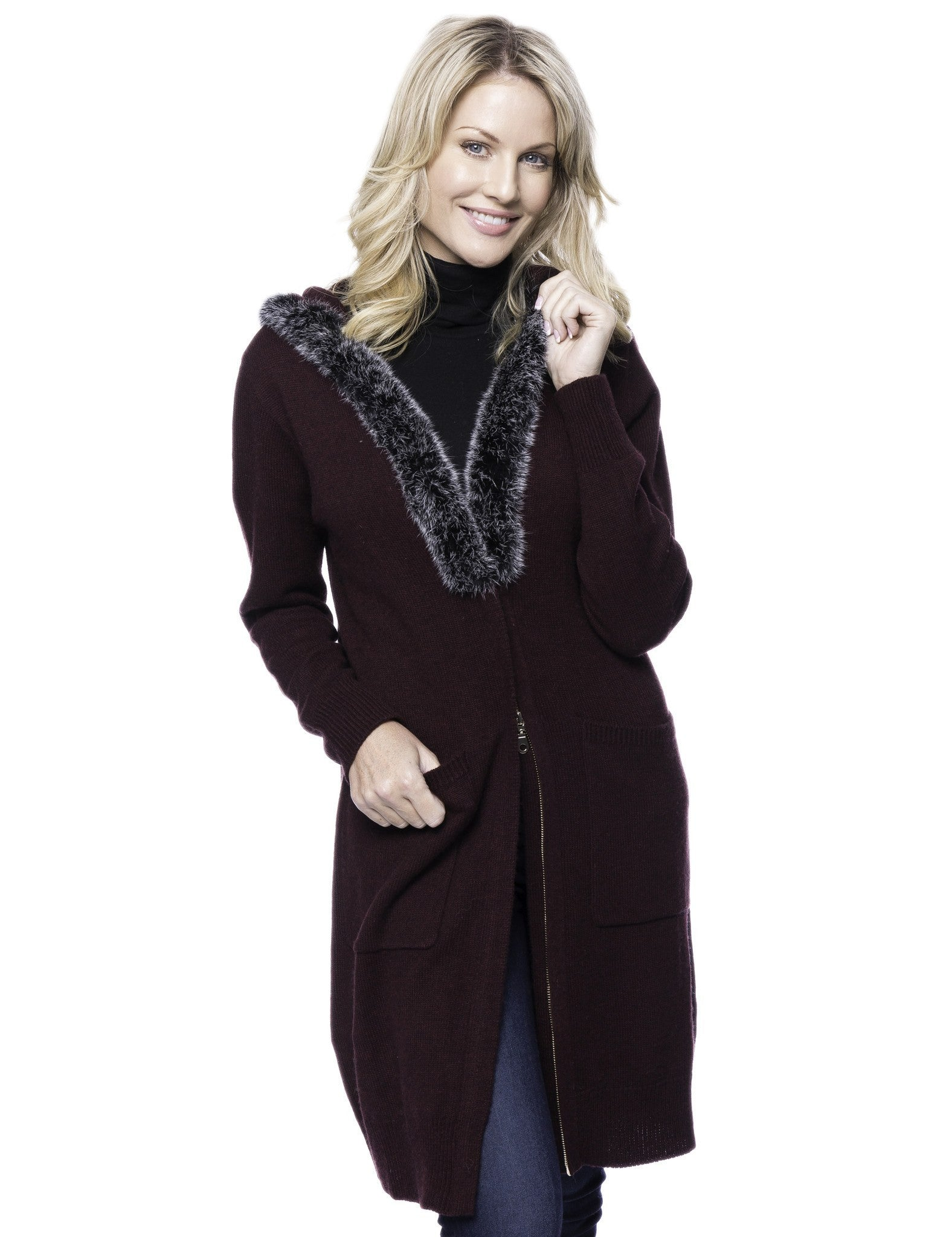 Tocco Reale Women's Wool Blend Zip Cardigan with Fur Trim Hood - Bordeaux