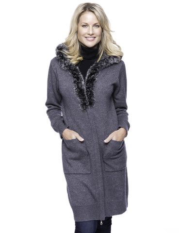 Wool Blend Zip Cardigan with Fur Trim Hood - Charcoal