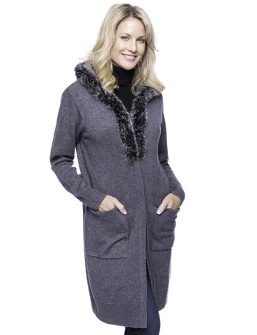 Tocco Reale Women's Wool Blend Zip Cardigan with Fur Trim Hood - Charcoal