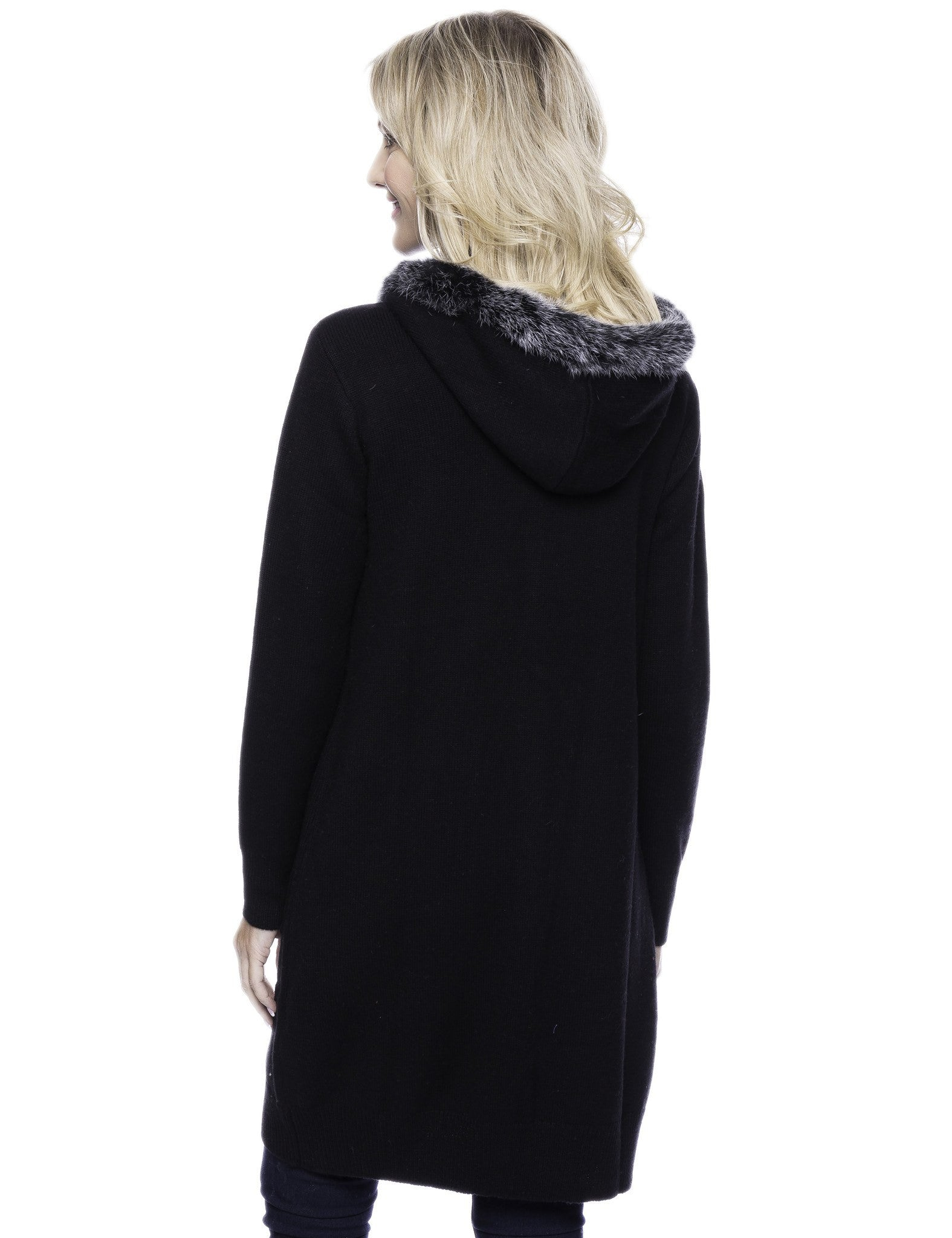 Tocco Reale Women's Wool Blend Zip Cardigan with Fur Trim Hood - Black