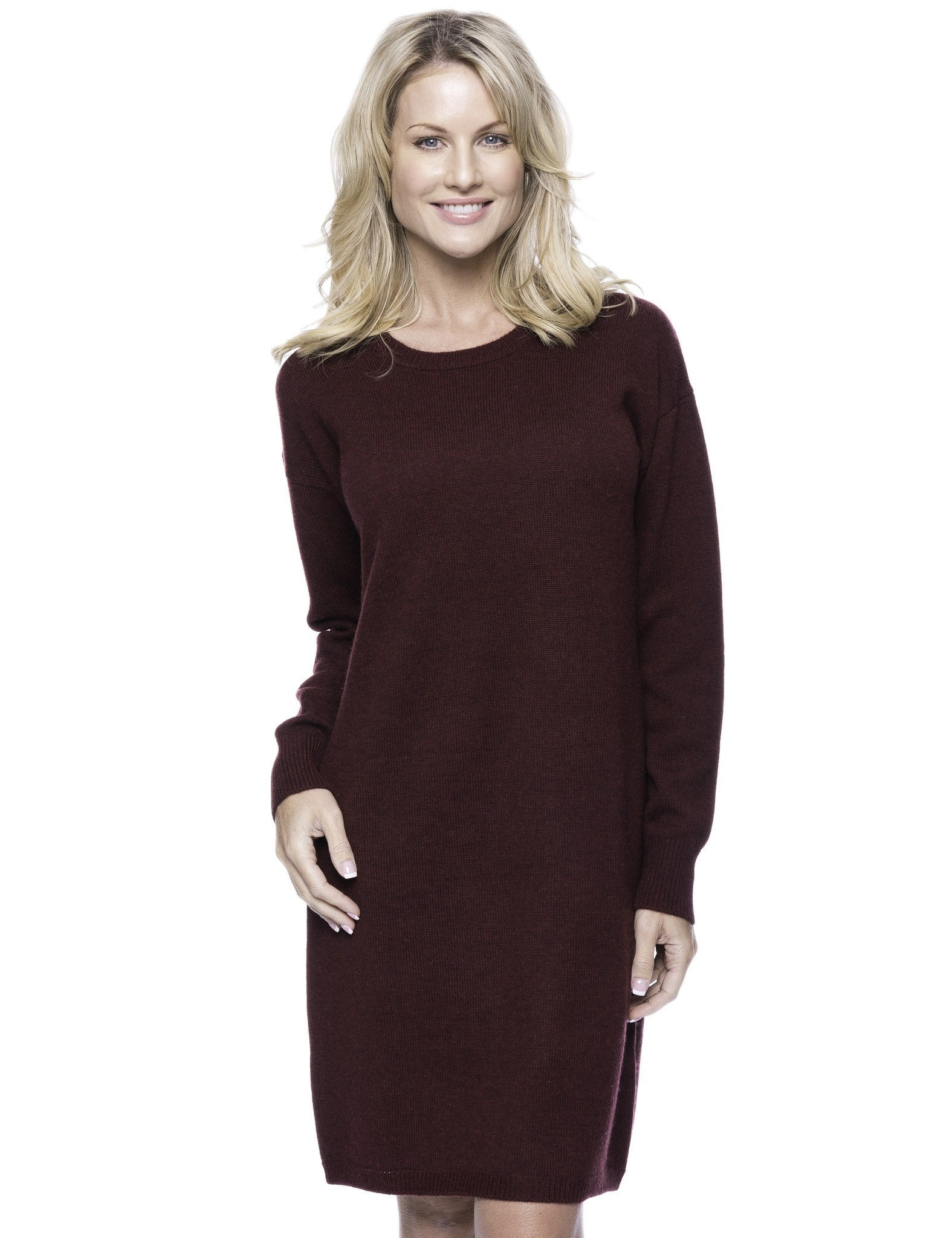 Wool Blend Sweater Dress - Bordeaux