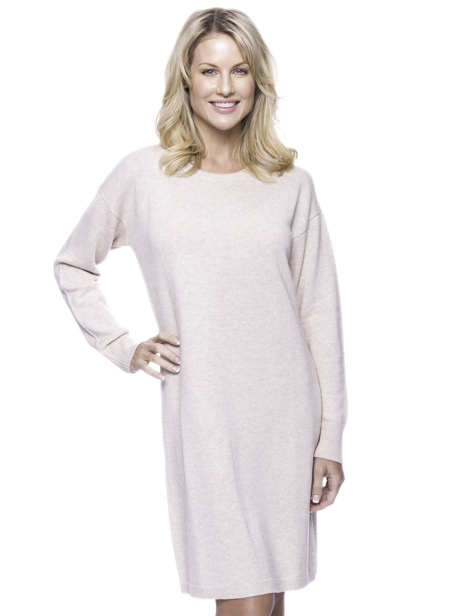 Wool Blend Sweater Dress - Oatmeal