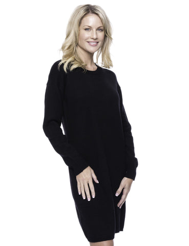 Wool Blend Sweater Dress - Black