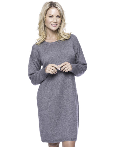 Wool Blend Sweater Dress - Dark Grey