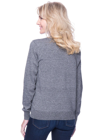 Tocco Reale Women's Premium Cotton Crew Neck Sweater - Marl Black/White