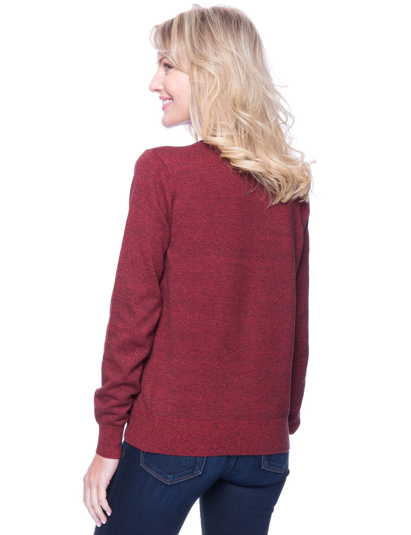 Tocco Reale Women's Premium Cotton Crew Neck Sweater - Marl Red/Black