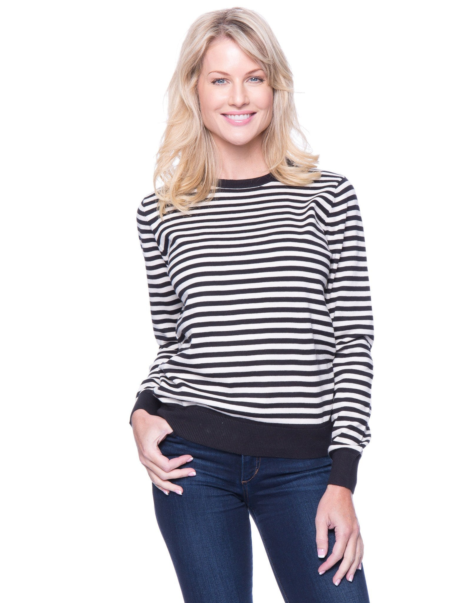 Premium Cotton Crew Neck Sweater - Stripes Black/Ivory