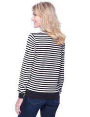 Tocco Reale Women's Premium Cotton Crew Neck Sweater - Stripes Black/Ivory