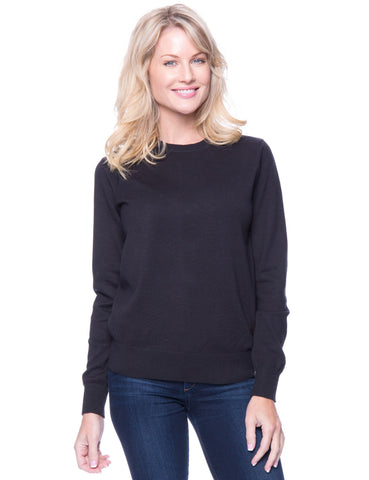 Premium Cotton Crew Neck Sweater - Black