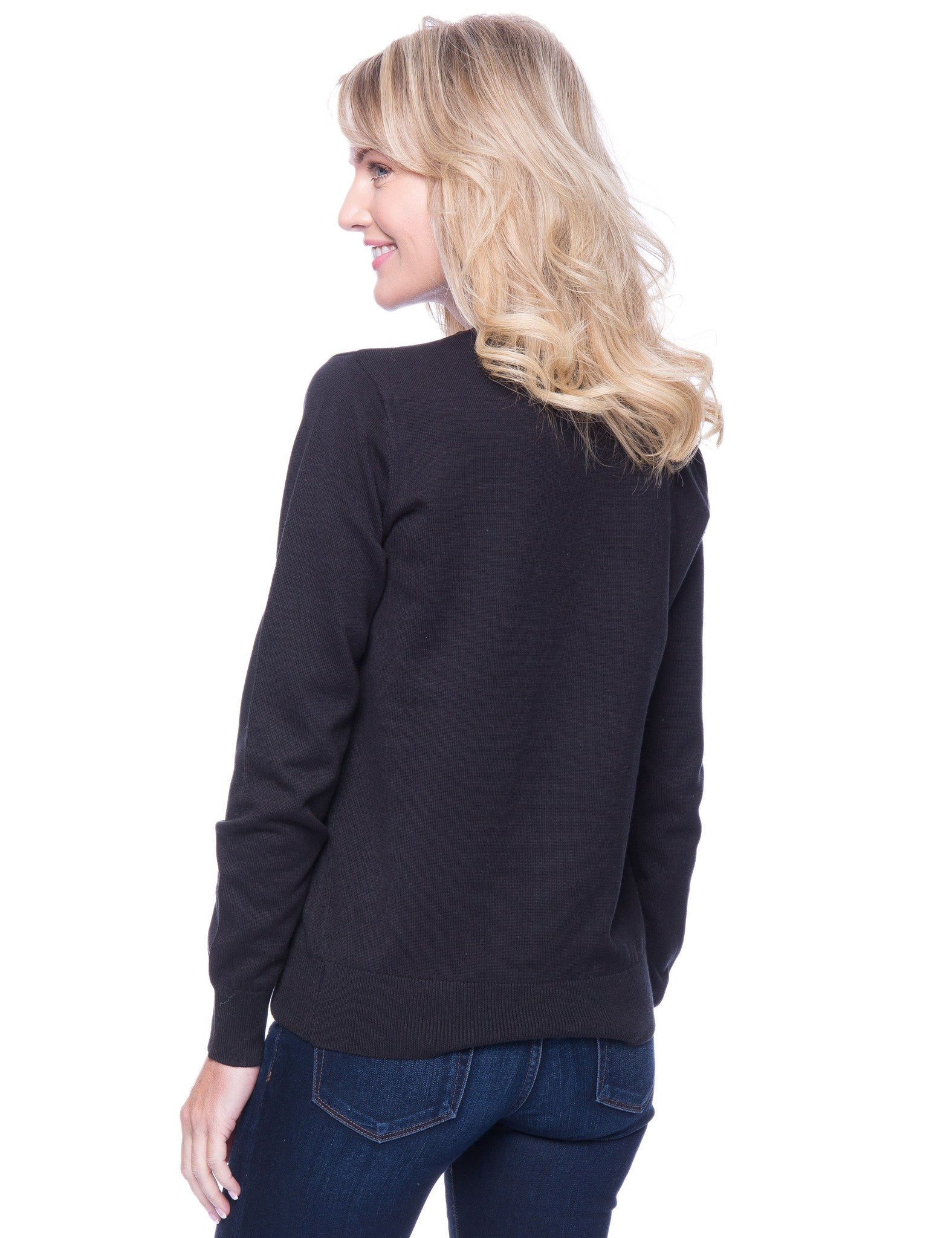 Tocco Reale Women's Premium Cotton Crew Neck Sweater - Black